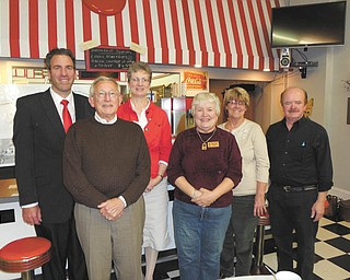 SPECIAL TO THE VINDICATOR: Columbiana Area Chamber of Commerce sponsored its quarterly business showcase recently at the Columbiana Diner. Those featured, from left, were Atty. Richard H. Hura; Jerry Stoneburner, Buckeye Transfer Realty; Deann Davis, Columbiana Community Foundation; Cec Jones, Mystic Laser; and Vicki Smith and Larry Deidrick, both with the Columbiana Diner. The next showcase will be Jan. 23, 2014.