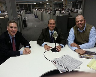 YSU President Dr. Randy Dunn, left, Dr. Dan Ricchiuti and YSU communications department chair Dr. Adam Earnhardt displayed their clean shaven, pre-Movember faces during a visit to Vindy Talk Radio on Nov. 6.