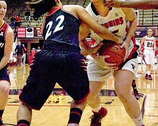 Youngstown State forward Heidi Schlegel fights for the ball Saturday against Cincinnati guard Bianca Quisenberry in the first half at Beeghly Center.