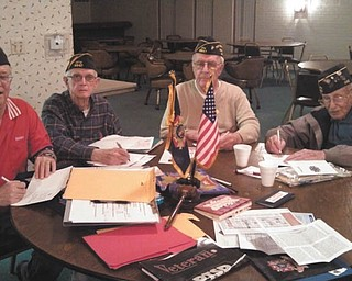 SPECIAL TO THE VINDICATOR Lt. Charles W. Brown Jr. VFW Post 9947 in Cornersburg met at Brandywine Clubhouse on Veterans Day and signed Christmas cards for Operation Holiday Cheer. Details of The Vindicator program are at right. Post Commander Barry Landgraver encourages those from civic, church or veterans groups to consider sending cards to our troops at various holidays to encourage them and thank them for their service. From left are Landgraver, Ray Hughes, adjutant; Jim Russell, member; and Ray Bradich, chaplain. For information call Mahoning County Veterans Service Commission at 330-740-2451, ext. 8390.