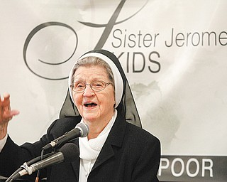 Sister Jerome Corcoran introduces Sister Jerome's Kids — Mission College during a press conference Tuesday in Tyler Mahoning Valley Historical Center in downtown Youngstown.
