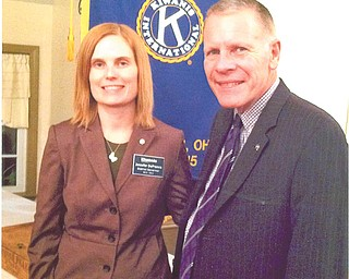 SPECIAL TO THE VINDICATOR Division 21 of Ohio International Kiwanis recently elected Lt. Gov. Chris McCarty, right, a member of Youngstown Kiwanis Club. He was installed by Ohio Kiwanis Gov. Jennifer DeFrance of Kent, left. McCarty was president of the Key Club at Woodrow Wilson High School for four years and was president of the Girard-Liberty Kiwanis Club, where he received the Distinguished President Award. He was president of Youngstown Kiwanis Club for one year and has been a Kiwanian for 15 years. The club meets weekly at noon at the downtown YMCA. For information call 330-729-1017.