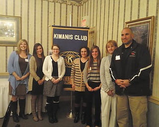 SPECIAL TO THE VINDICATOR Western Mahoning County Kiwanis Club welcomed the new Canfield teachers at a recent Wednesday night meeting at A La Cart Catering in Canfield. From left, Mara Banfield, assistant principal of the middle school, introduced the teachers, Hannah Snyder, Carrie Fiol, Christine Davis, Chelsea Kriebel, Carol Young and Angelo Ciminero.