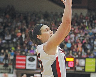 Youngstown State's Heidi Schlegel (15) puts up a jump shot during the first half of Monday morning's matchup against Malone at Beeghly Center.