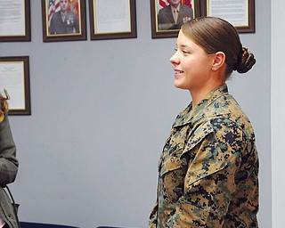 Marine Corps Cpl. Jessica Wolfe, a 2008 Boardman High School graduate, is one of 10 members of Detachment-3, Maintenance Company, Combat Logistics Battalion 453 at the Youngstown Air Reserve Station in Vienna who returned home this weekend from a seven-month deployment to Afghanistan.