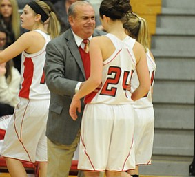 Columbiana head coach Ron Moschella smiles while talking to #24 Emily Witmer during the 2nd half of Monday nights game.