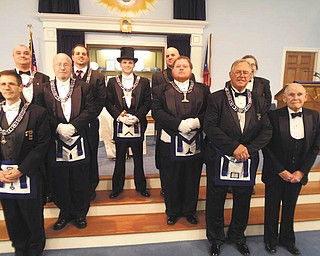 SPECIAL TO THE VINDICATOR The 201st annual installation of officers of Western Star Lodge 21 took place recently. From left are J. Joseph Yaksich, R. Sean Craig, James A. Patrick Jr., John P. Lisi, William T. Adams, Joseph S. Lisi, Shaun M. Laughlin, T.J. Perren, Robert K. Ellway, and Earl H. Stahl.