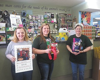 SPECIAL TO THE VINDICATOR Bo's Pet Shoppe, 14883 South Ave., Columbiana, is collecting shelter supplies and selling Jeannie Arnoto's ROCC and Rescue Christmas Carol CDs. Proceeds will benefit the Humane Society of Columbiana County. Items needed are clay kitty litter, paper towels, laundry detergent, all natural pet treats, sensitive stomach pet food, Kong and Busy Buddy pet toys, gift and fuel cards. Donors of these items will receive raffle tickets for a gift basket that will be drawn in January. From left are Jeannie Arnoto, HSCC volunteer and singer; Stacy Cappitte, Bo's Pet Shoppe staffer; and Mary Algaier, owner of Bo's. Donations will be accepted at HSCC ROCC, Rescue and Adoption Center, 1825 S. Lincoln Ave., Salem; and HSCC Animal Resource Complex on the state Route 45 bypass in Salem. For information call HSCC at 330-332-8622.