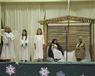 SPECIAL TO THE VINDICATOR: Students in the second and third grades at St. Patrick School in Hubbard, a Lumen Christi school, presented a Nativity play as part of a Christmas program for their families and friends. The children practiced for several weeks to memorize their lines and work on their acting skills to represent the true meaning of Christmas to those in attendance. Above, participating in the event were, from left, Zoe Yesh, Lauren O'Toole, Elaina Matricardi, Nora DePizzo and Dylan Scarmack.