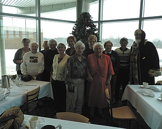 Special to the Vindicator: The Youngstown Area Weavers Guild had its holiday luncheon recently at the Mahoning County Career and Technical Center in Canfield. Members donated toys and money to be given to needy children. Above, in the front row, from left, are Mary Ferguson, Felicia MacMillan, Florence Highfield and Fay Pionpkiwski. In the back are Johnda Holston; Mary Shrodek; Sally Macklin; Liz Andraso; Marilyn Dunn, president; Sandy Wildman; Mary Ann Gasper; and Howard Huffman as Santa.