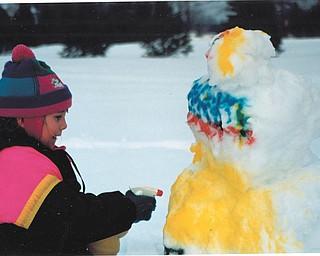 Leanna Hartsough spray painted her snowman! Sent by Lana Vanauker.