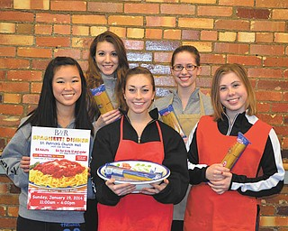 SPECIAL TO THE VINDICATOR Ballet Western Reserve students will take off their toe shoes and put on their aprons for the annual spaghetti dinner from 11 a.m. to 4 p.m. Sunday. The dinner will be served at St. Patrick Church Hall, 1420 Oak Hill Ave., Youngstown. Adult meals will cost $8, and children 12 and under and Youngstown State University students with identification will eat for $6. All funds raised will be used to enhance the ballet program throughout the year. Carryout will be available. Senior company dancers preparing for the dinner, in front from left, are Maeli Foley, Lily Gelfand and Jena Styka. In back are Halle Moran and Angie Phifer. Tickets are available in advance at BWR, 218 W. Boardman St., Youngstown, and will be sold at the door. Call 330-744-1934 for information.