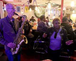 william D. Lewis The Vindicator  Dan Colaluca of Youngstown is one of many musicians to stop by longtime jazz and blues club , Frieda's on Y-towns Northside for a Friday night jam session.