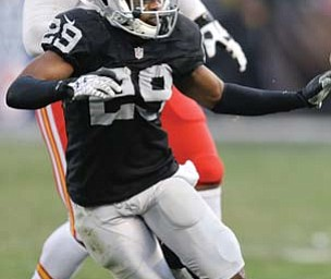 Brandian Ross of the Oakland Raiders started 13 games last season after switching from cornerback to safety during the off season.