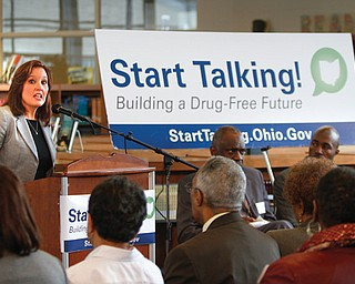 Ohio Lt. Gov. Mary Taylor speaks at the kickoff of Start Talking! Ohio's Youth Drug Abuse Prevention Initiative on Monday at East High School.