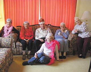 SPECIAL TO THE VINDICATOR Roy Dye, center, recently was chosen Valentine's Day King at the Century House of Salem. From left are the queens, Jean Holt, Pat Wilde, Dye, Anna Mae Wutrick and Helen Bass. In front is Grace Donohue.