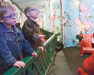 Three-year-old twins Aydon, left, and Braydon Hacker of Sharon take in the Easter Bunny Lane exhibit at Kraynak's , 2525 E. State St. in Hermitage. The display opened Thursday and continues until the Monday after Easter.