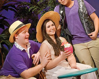 "From left, Connor Bezeredi, Natalie Martzial and Ashley Whited in a scene from Youngstown State University Theater's production of ""Twelfth Night in 2014."""