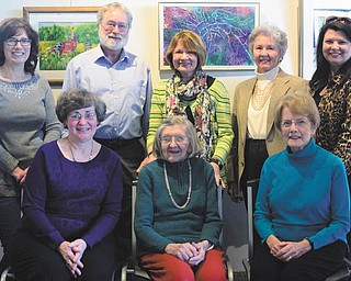 Members of the Mahoning Valley Watercolor Society who recently attended the opening of their show at Wittenauer's Cafe and Gallery in Poland, are, front row, from left,  Susan Dryburgh, Irene Lehtonen and Sue Anzellotti, and, back row, Terry Wittenauer, Rick Shale, Betsy Ford, Beth Bacani and Mary Leo. Special to The Vindicator | Nancy Urchak