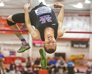 Mount Union freshman Zach Wukotich jumps over the high bar at the NCAA Division III 2014 Indoor Track & Field Championships on March 14 in Lincoln, Neb. Wukotich, of Salem, earned All-American honors for the first time with a fifth-place finish.