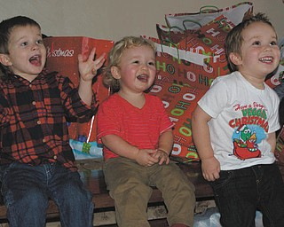 Laurie Fox's grandsons' gleeful faces are watching others in the family opening presents this past Christmas. From left are Cameron, son of Beth and Matt Mason of Salem, and Jack and Ben, sons of Becky and Bill Gaither of Austintown.