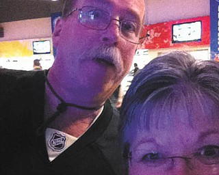 This selfie is Harold and Kay Wilson at a Pittsburgh Penguins hockey game at the Consol Center in Pittsburgh.