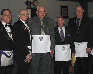 SPECIAL TO THE VINDICATOR When Argus Masonic Lodge 545 met recently, 31 members were honored. Among those present were, from left to right, WB Marc Roca, RWB Russell W. Gillam Jr., RWB Gary L. Wilms, Jack E. Hutchinson, Delmer W. Richards, Wilmer K. Jones, David E. Jones and James A. Streeky.