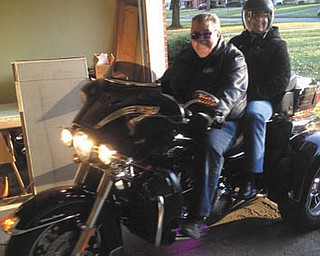 Bill and Monica Emler of Youngstown, ready for a ride.