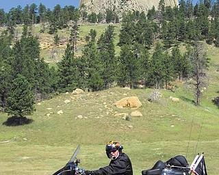 Tony Moran sent this photo of himself at Devils Tower, Wyoming.