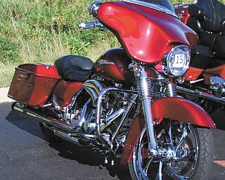 A front view of the 2012 Harley Streetglide  owned by Ron Dubas.