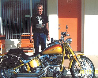 Baxter Grossen and his 2008 ScreaminÕ Eagle Softail at bike week at Daytona in 2012. Sent by his wife, Sally Grossen.