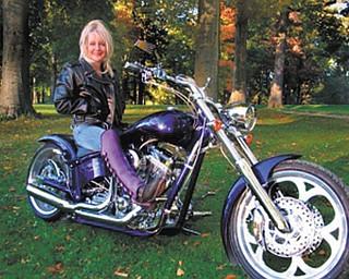 Priscilla Umbrazun is ready to ride her custom American Ironhorse Slammer in Mill Creek Park.