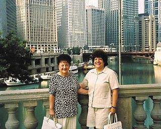 In 2006 Esther Turscak of Poland and her daughter, Debra Chop of Boardman, took a memorable bus trip to Chicago for 3 days. They are standing on the bridge over the Chicago River, ready to board a boat for an architectural city tour. Debra will always cherish these travel memories.