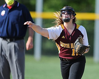NORTH LIMA, OHIO - MAY 19, 2014: Infielder Lydia Baird #10 of South Range throws the ball to first base for the third out int he top of the 6th inning during a game at South Range High School. (Photo by David Dermer/ Youngstown Vindicator)