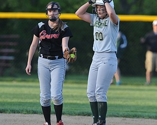 NORTH LIMA, OHIO - MAY 19, 2014: Base runner Makayla Shore #00 of Ursuline stands on second base and reacts after hitting a double late in the game during a game at South Range High School. (Photo by David Dermer/ Youngstown Vindicator)