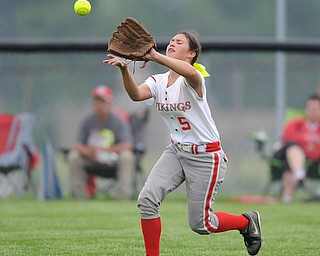 MASSILLON, OHIO - MAY 28, 2014: Outfielder Danielle Miracle #5 of LaBrae gets under the fly ball for the 1st out int he top of the 6th during a OHSAA tournament game at Massillon Washington High School. Manchester won 4-1. (Photo by David Dermer/Youngstown Vindicator)