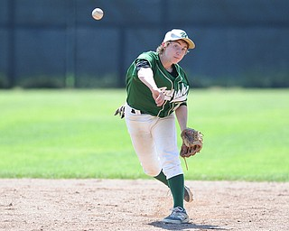 MASSILLON, OHIO - MAY 29, 2014: Infielder Vito Petrillo #22 throws the ball to first base for the out during a OHSAA tournament game at Massillon Washington High School. Ursuline won 7-5. (Photo by David Dermer/Youngstown Vindicator)