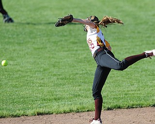 MASSILLON, OHIO - MAY 29, 2014: Infielder Lydia Baird #10 of South Range watches the ball as it drops over her head for a Independence single during a OHSAA tournament game at Massillon Washington High School. Independence won 3-0. (Photo by David Dermer/Youngstown Vindicator)