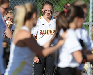 MASSILLON, OHIO - MAY 29, 2014: Jessica Skirpak #2 of South Range watches as players and coaches from Independence celebrate in the infield after a OHSAA tournament game at Massillon Washington High School. Independence won 3-0. (Photo by David Dermer/Youngstown Vindicator)
