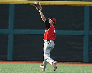 BLOOMINGTON, INDIANA - MAY 30, 2014: Outfielder Kevin Hix #1 of Youngstown State gets under a fly ball for the out early during Friday nights regional tournament game against Indiana University. (Photo by David Dermer/Youngstown Vindicator)