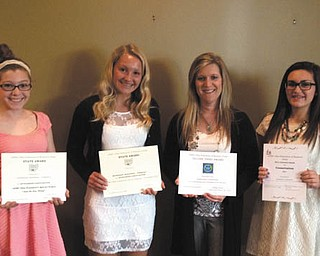 SPECIAL TO THE VINDICATOR: Austintown Junior Women's League Juniorettes received numerous awards and certificates at the Ohio Conference in Columbus in May. Honors earned were the State Honor Roll Award, the State President's Award, the Ohio President's Special Project Award, the Ohio Community Service Project International Outreach Award and the Outstanding Participation in Conservation and Education Award. Juniorettes, from left, are Gia DiRenzo; Kayla Sahli; Jordan Evans; Kerri Sahli, adviser; Talia Diaz; and Nichole Noday.