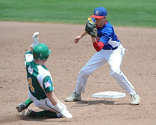 COLUMBUS, OHIO - JUNE 5, 2014: Infielder Walker Marloew #2 of Reserve prepares to tag out base runner Rob Engle #4 of Newark Catholic who was trying to steal second base, this would be the 3rd out of the bottom of the 4th inning during a OHSAA state semi-final game at Huntington Park. Newark Catholic won 6-2. (Photo by David Dermer/Youngstown Vindicator)
