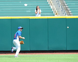 COLUMBUS, OHIO - JUNE 5, 2014: Outfielder Dan Zilke #6 of Reserve chases down a ball hit ingot he gap, two runs would score on the play in the bottom of the 6th inning during a OHSAA state semi-final game at Huntington Park. Newark Catholic won 6-2. (Photo by David Dermer/Youngstown Vindicator)