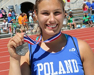 Nicotette Kreatsoulas of Poland holds her medal after placing 2nd in the discus of the Division 2 State Track Meet at the Jesse Owens Memorial Stadium in Columbus, Ohio, Friday, June 6, 2014. (Photo/Mark Hall)