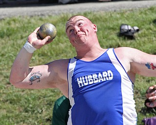 Matt Jones of Hubbard puts the shot in the Division 2 at the State Meet at Jesse Owens Memorial Stadium in Columbus, Ohio, Friday, June 6, 2014. (Photo/Mark Hall)