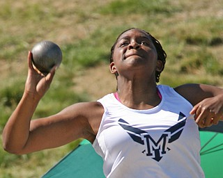 Jai' Lyn Mosley of McDonald puts the shot to win the womens shot put in the in the Division 3 State Meet at the Jesse Owens Memorial Stadium in Columbus, Ohio, Friday, June 6, 2014. (Photo/Mark Hall)
