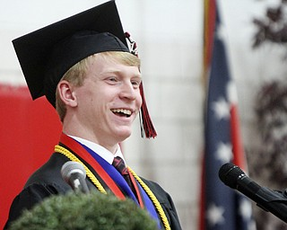 William D Lewis The Vindicator Canfield 2014 grad Christopher Thomas Halley speaks during Sunday commencement at CHS. He was one of two student speakers.
