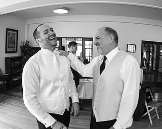 David and Dante DiRusso share a laugh at Dante's wedding, sent by Rebecca DiRusso.