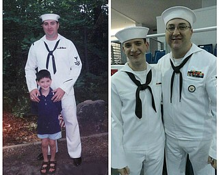 Benjamin A. Howard Sr. of North Jackson and Benjamin A. Howard Jr. of Norfolk, Virginia. The picture on the left was taken in 1997 at a Boy Scout dedication, and the picture on the right was taken in 2012 at Ben Jr.Õs US Navy graduation from Boot Camp. Sent by Joyce E. Howard.