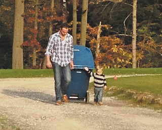Jonathan Zyznar of Poland and his son, Mason Zyznar, 2, last fall.